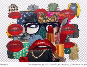 红唇、衣服、高跟鞋、眼镜等图片素材【美图秀秀笔刷包】