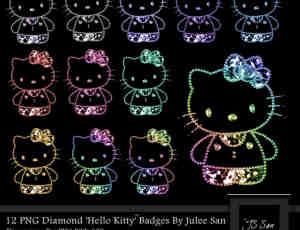彩色小亮珠Hello Kitty图形美图素材