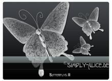 高贵的手绘光影蝴蝶花纹图案PS美图笔刷