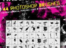 44种油漆痕迹涂抹Photoshop笔刷素材 #.1