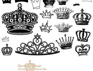 卡通皇冠、可爱金冠图形Photoshop笔刷素材