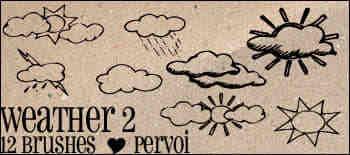 手绘涂鸦云朵Photoshop笔刷