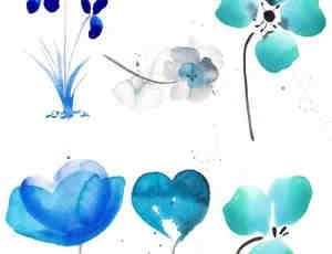 水粉鲜花图案Photoshop笔刷素材