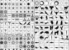 矢量小图案星星、动物、花纹等photoshop自定义形状素材 .csh 下载