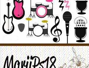 卡哇伊音乐元素卡通装扮照片素材