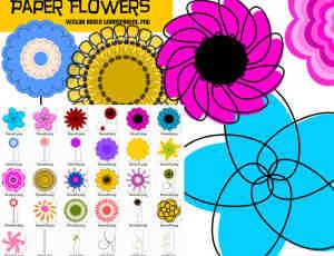 七彩卡通花朵装饰美图秀秀素材包