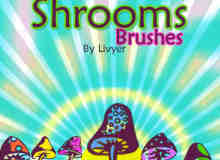 可爱卡通蘑菇Photoshop笔刷素材