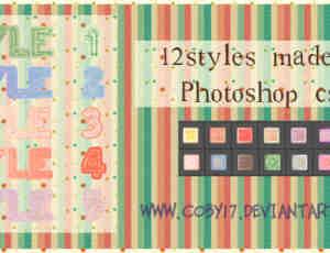 12种小清新Photoshop自定义样式风格素材下载 .asl