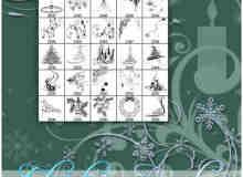 圣诞节花纹艺术装饰图案PS美图笔刷