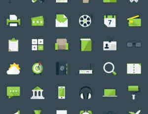 60个绿色小清新电脑图标PSD素材下载