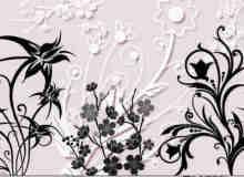 漂亮的鲜花图案PS照片背景装饰美图笔刷