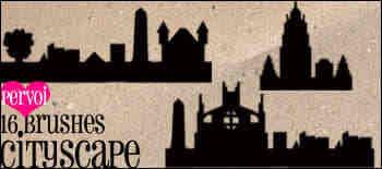 古堡、城堡建筑剪影Photoshop笔刷素材