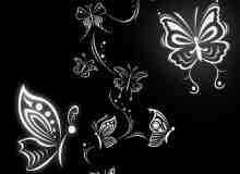 绝美的蝴蝶花纹图案PS照片美图笔刷