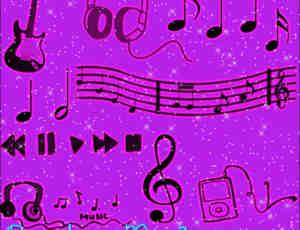 可爱音乐符号图形Photoshop笔刷素材