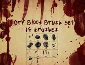 血迹、滴血、凶杀现场血痕Photoshop笔刷素材