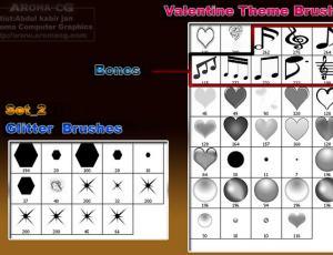 十字星光与爱心、音乐符号Photoshop笔刷素材
