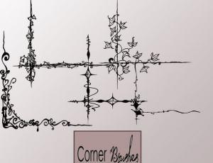植物藤蔓花纹边角图案Photoshop笔刷素材