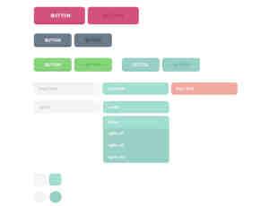 一套小清新风格Web按钮与输入框PSD源文件素材