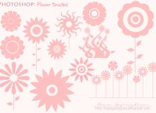 漂亮的鲜花、太阳花朵矢量photoshop笔刷素材 #.2