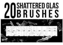 20种玻璃碎片、破碎、碎玻璃Photoshop笔刷素材