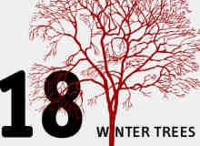 18种树木剪影图形PS填充素材