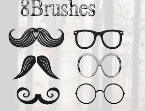 呆萌!卡通胡子、眼镜PS照片美图素材