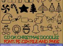 手绘圣诞节图案装饰photoshop自定义形状素材 .csh 下载