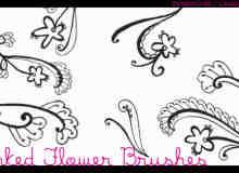 漂亮的植物花纹照片美图背景边框饰品PS笔刷 #.57