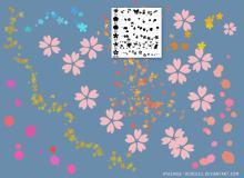 漂亮的樱花、小红花、印花花纹图案PS笔刷