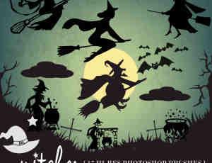 万圣节的女巫剪影图案Photoshop笔刷素材