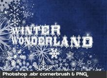 漂亮的圣诞节雪花图案、贺卡装饰花纹PS笔刷