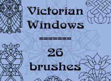 26种手绘线条花纹图案Photoshop笔刷素材