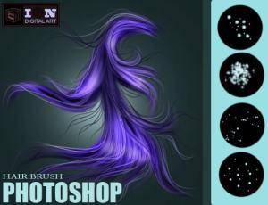 漂亮的CG式发丝、毛发笔触Photoshop笔刷