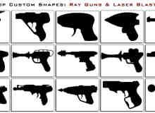 一套高科技手枪PS自定义形状素材
