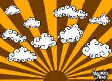手绘卡通卷曲的云朵PS美图笔刷