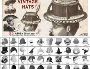 25顶各式各样的帽子Photoshop笔刷