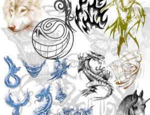 龙纹饰、恶龙纹身、死神、独角兽Photoshop刺青笔刷