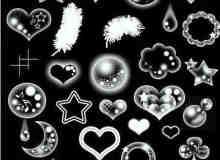 泡泡式爱心、星星、月亮等可爱装饰PS笔刷