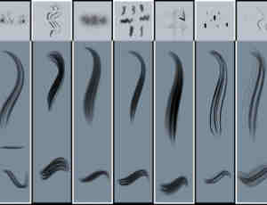 9种毛发、发丝笔触Photoshop绘画笔刷