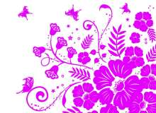 漂亮繁荣的蝴蝶植物艺术花纹图案PS笔刷下载