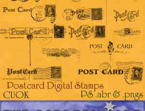 欧美式邮戳与邮票photoshop笔刷素材