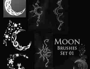 神秘月亮花纹图案Photoshop笔刷素材