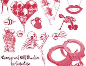 非主流骷髅人、恐怖装扮元素Photoshop笔刷