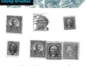 24种邮票素材Photoshop笔刷