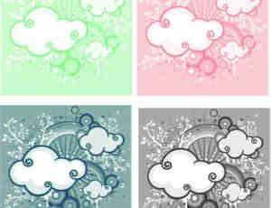 时尚非主流卡通云朵背景PS照片美图笔刷