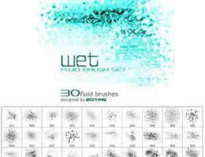 30种水面纹理Photoshop笔刷素材