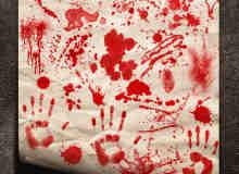 血手印、恐怖血迹、油漆喷溅痕迹Photoshop笔刷素材