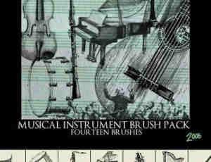 素描式小提琴、钢琴、乐队等素材Photoshop笔刷