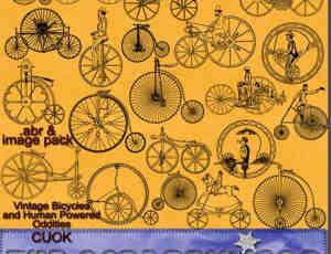 欧洲中世纪原始自行车photoshop笔刷素材