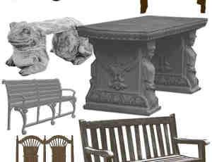 椅子、公园长椅、石凳、石椅Photoshop笔刷素材
